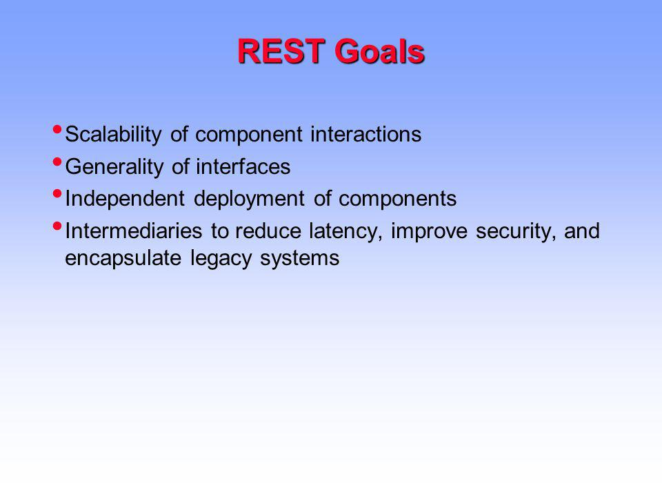 REST Goals Scalability of component interactions