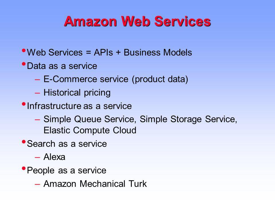 Amazon Web Services Web Services = APIs + Business Models