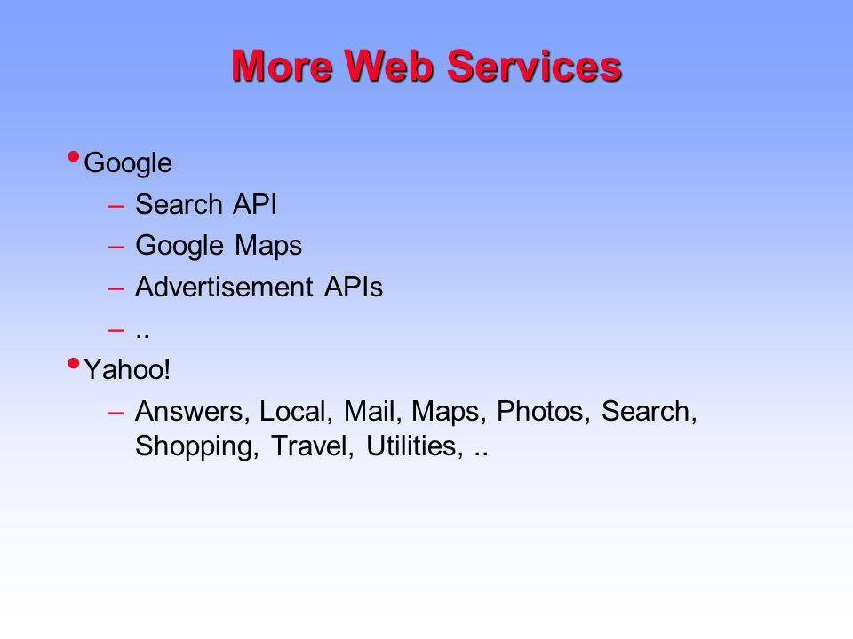 More Web Services Google Search API Google Maps Advertisement APIs ..