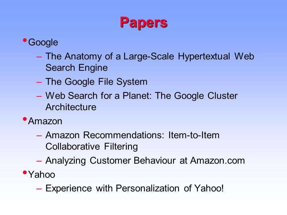 Papers Google. The Anatomy of a Large-Scale Hypertextual Web Search Engine. The Google File System.