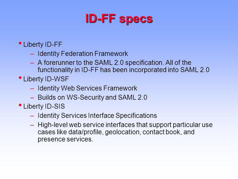 ID-FF specs Liberty ID-FF Identity Federation Framework