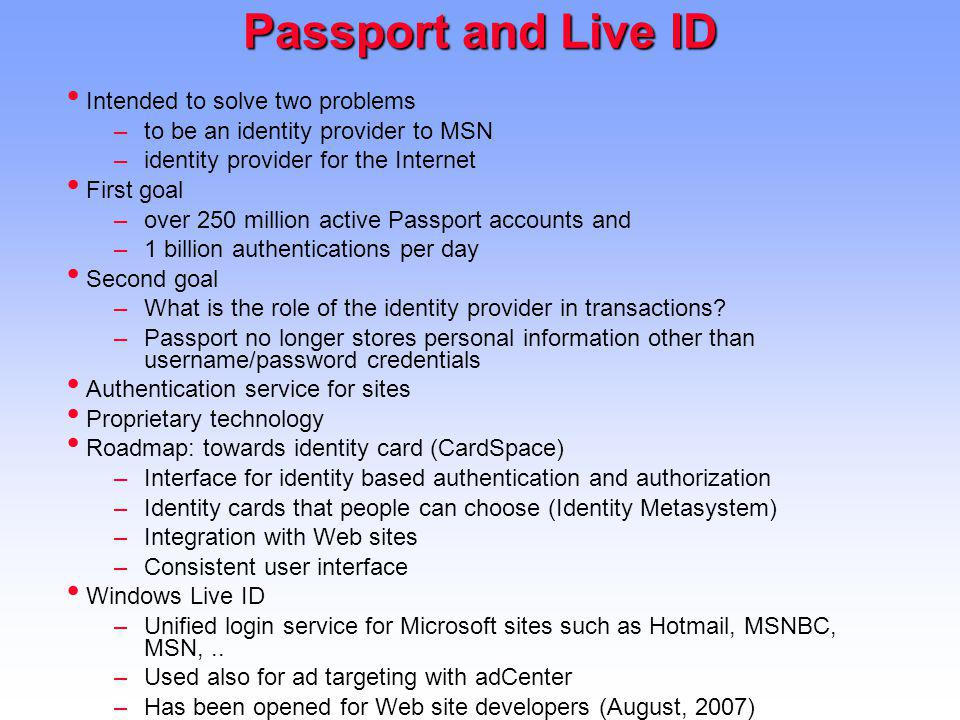 Passport and Live ID Intended to solve two problems