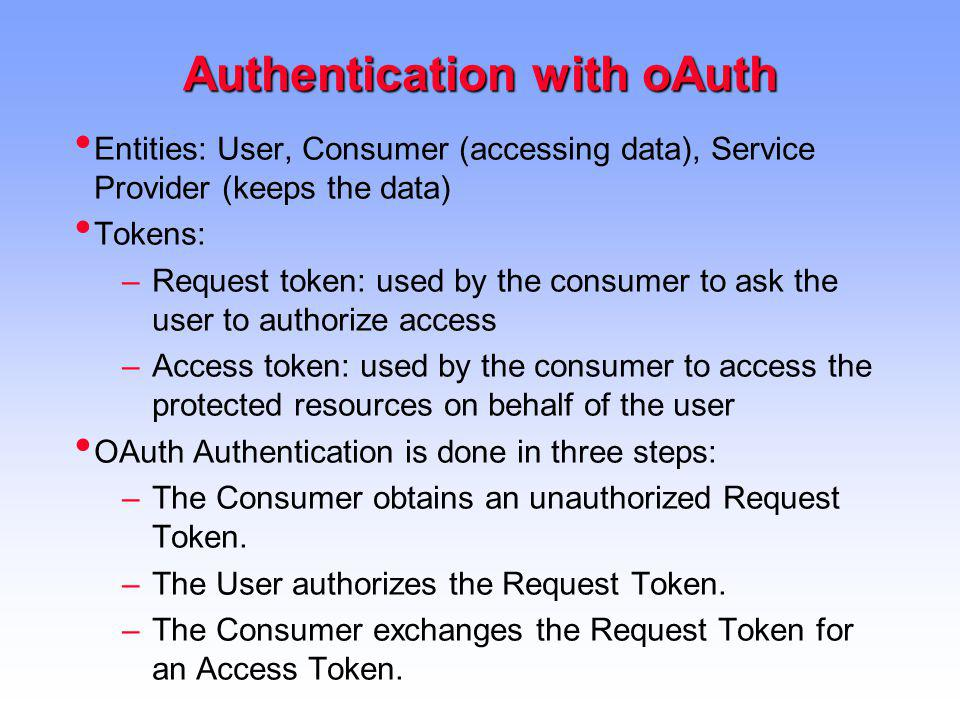 Authentication with oAuth