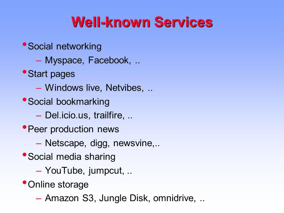 Well-known Services Social networking Myspace, Facebook, ..