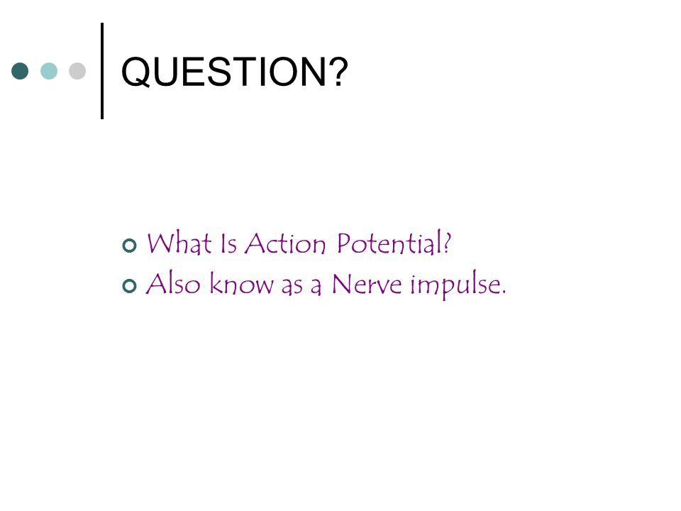 QUESTION What Is Action Potential Also know as a Nerve impulse.