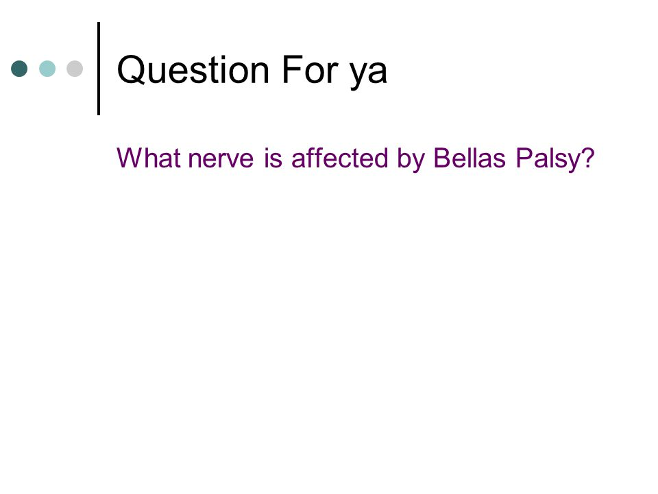 Question For ya What nerve is affected by Bellas Palsy