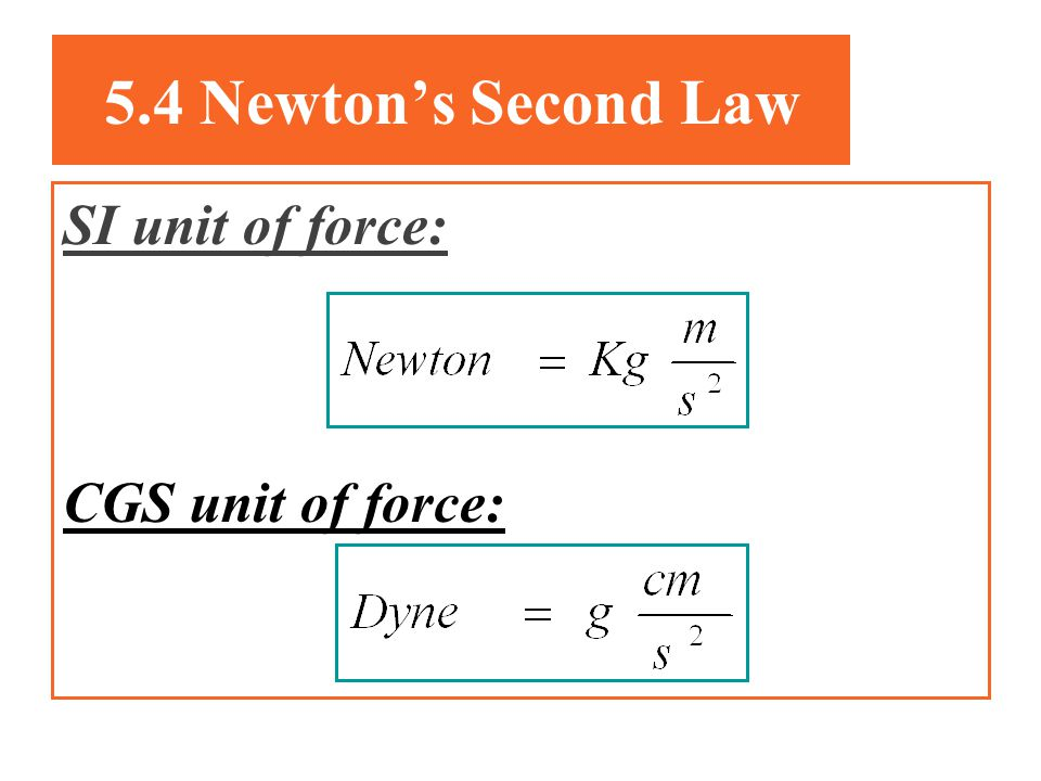 5.4 Newton's Second Law SI unit of force: CGS unit of force: