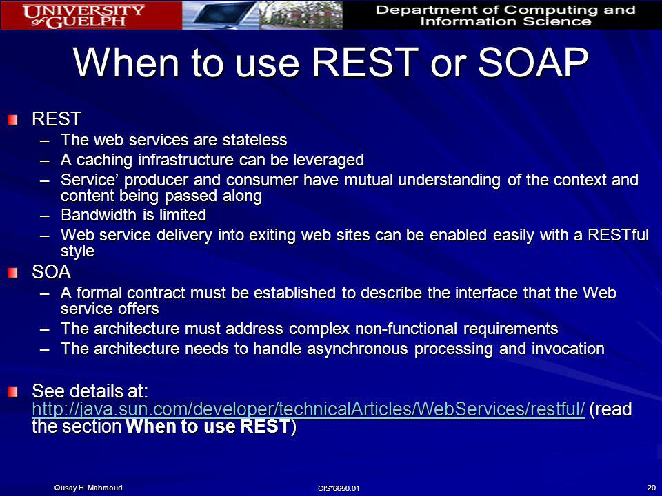 When to use REST or SOAP REST SOA