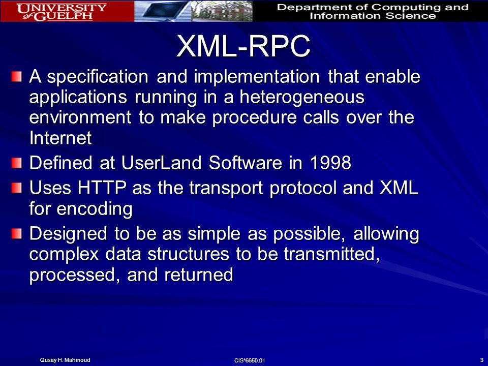XML-RPC A specification and implementation that enable applications running in a heterogeneous environment to make procedure calls over the Internet.