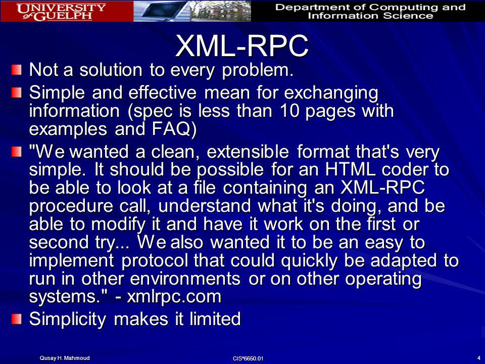 XML-RPC Not a solution to every problem.