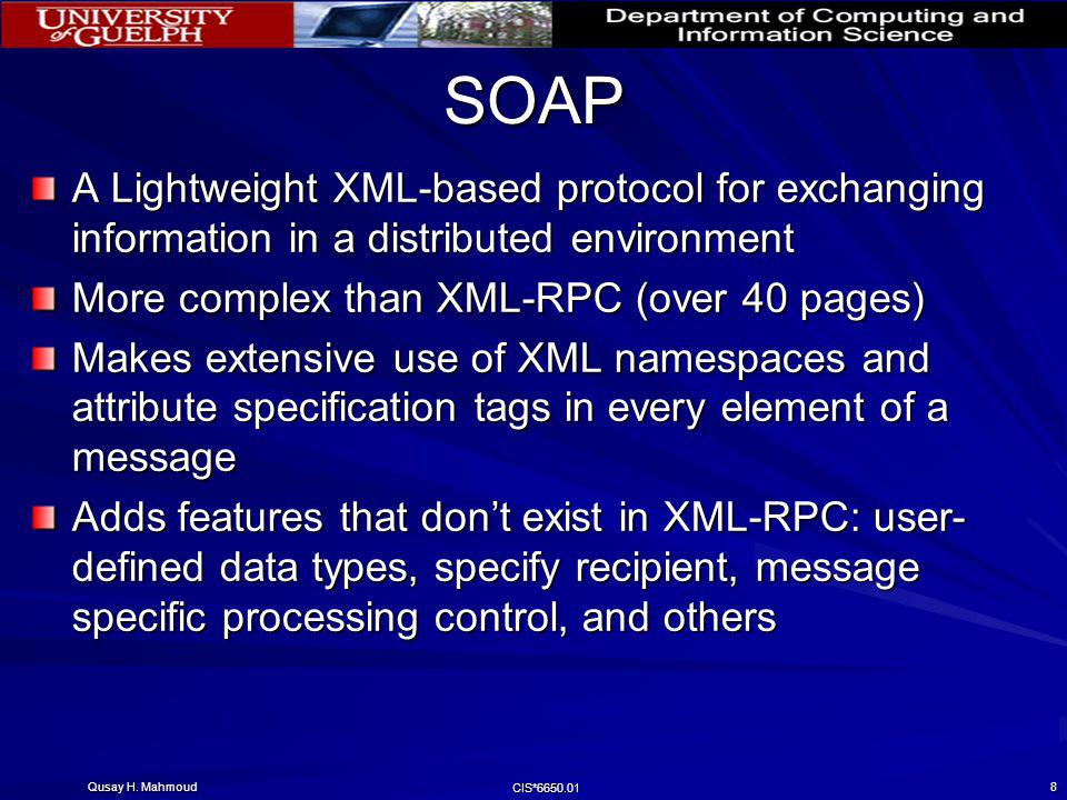 SOAP A Lightweight XML-based protocol for exchanging information in a distributed environment. More complex than XML-RPC (over 40 pages)