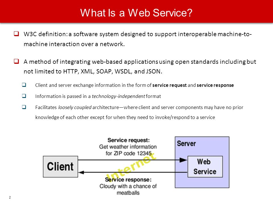 What Is a Web Service W3C definition: a software system designed to support interoperable machine-to- machine interaction over a network.