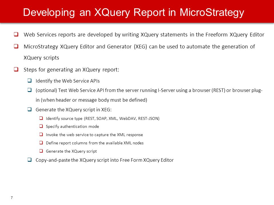 Developing an XQuery Report in MicroStrategy