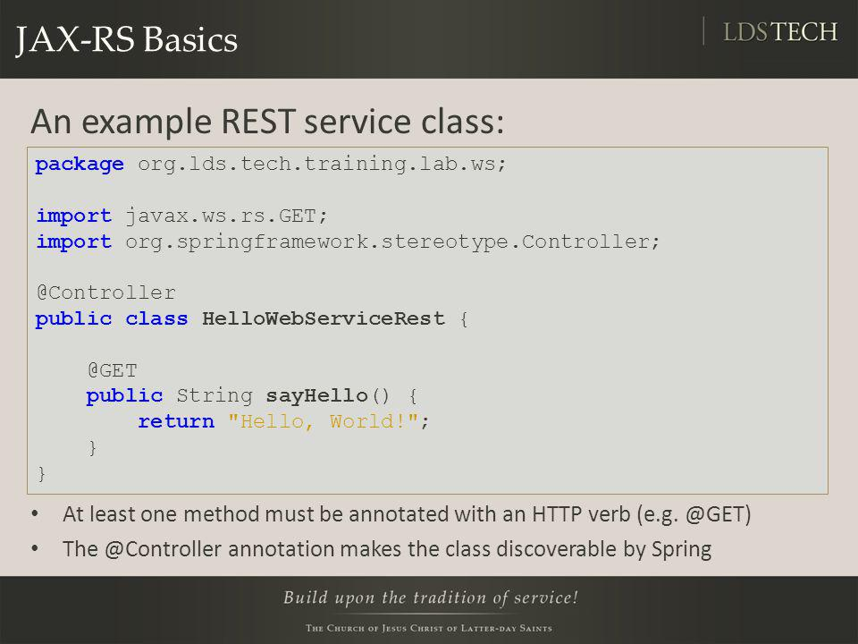 An example REST service class: