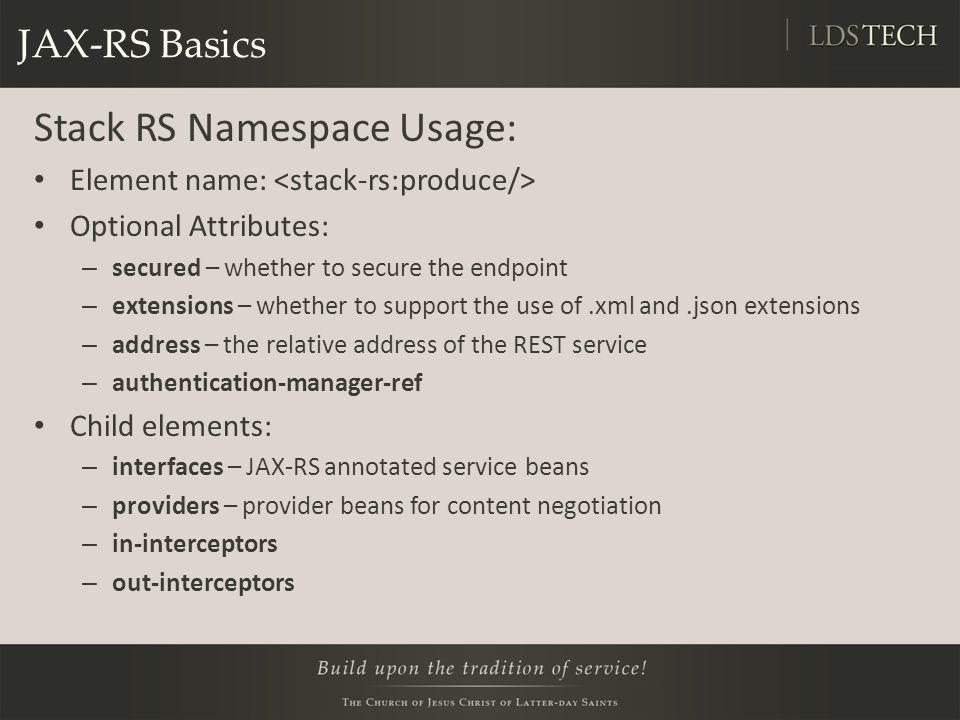 Stack RS Namespace Usage: