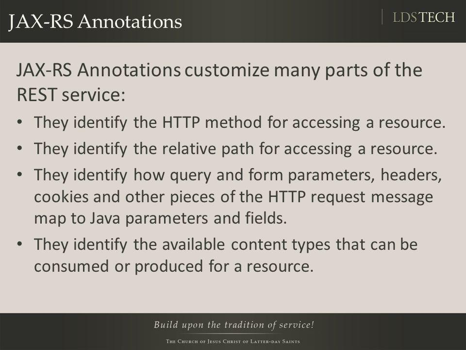 JAX-RS Annotations customize many parts of the REST service: