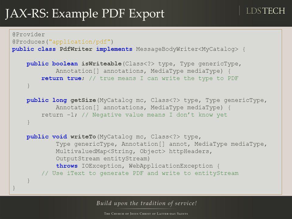 JAX-RS: Example PDF Export