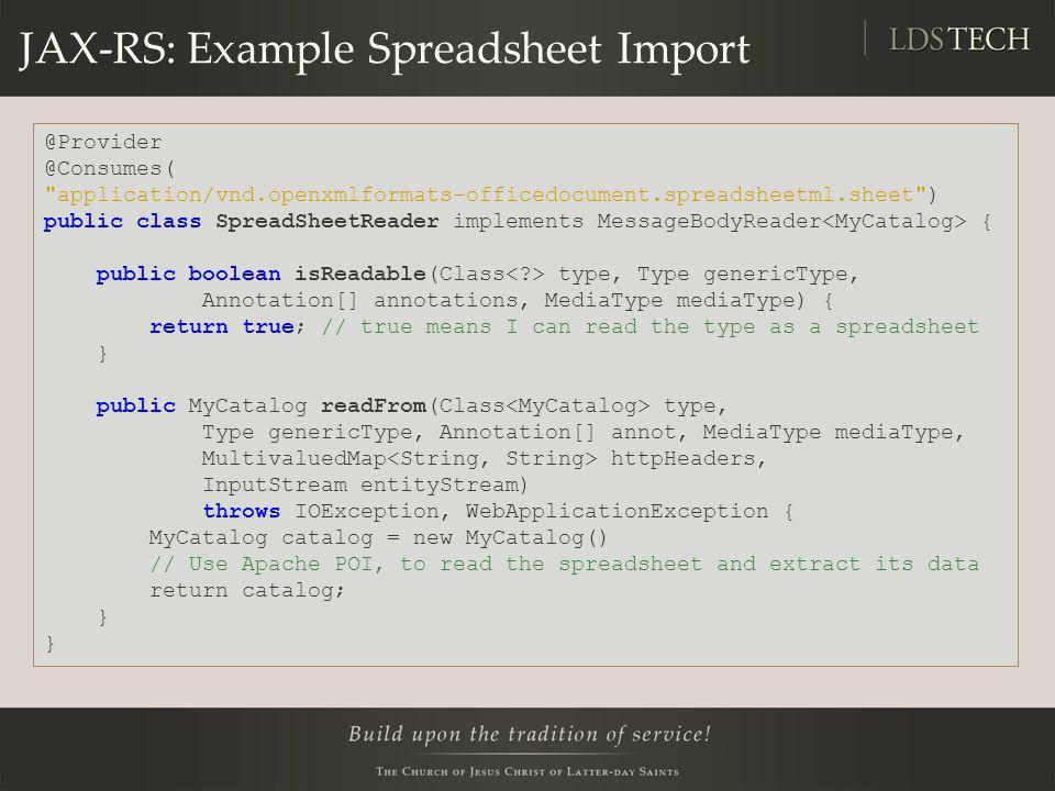 JAX-RS: Example Spreadsheet Import