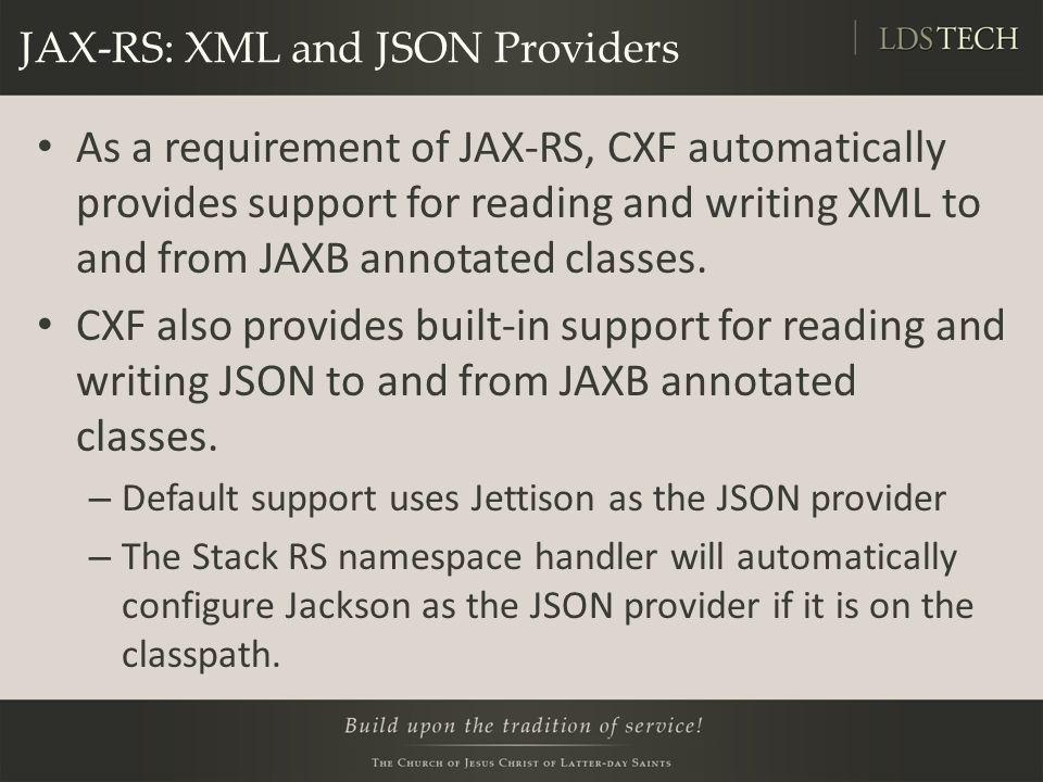 JAX-RS: XML and JSON Providers