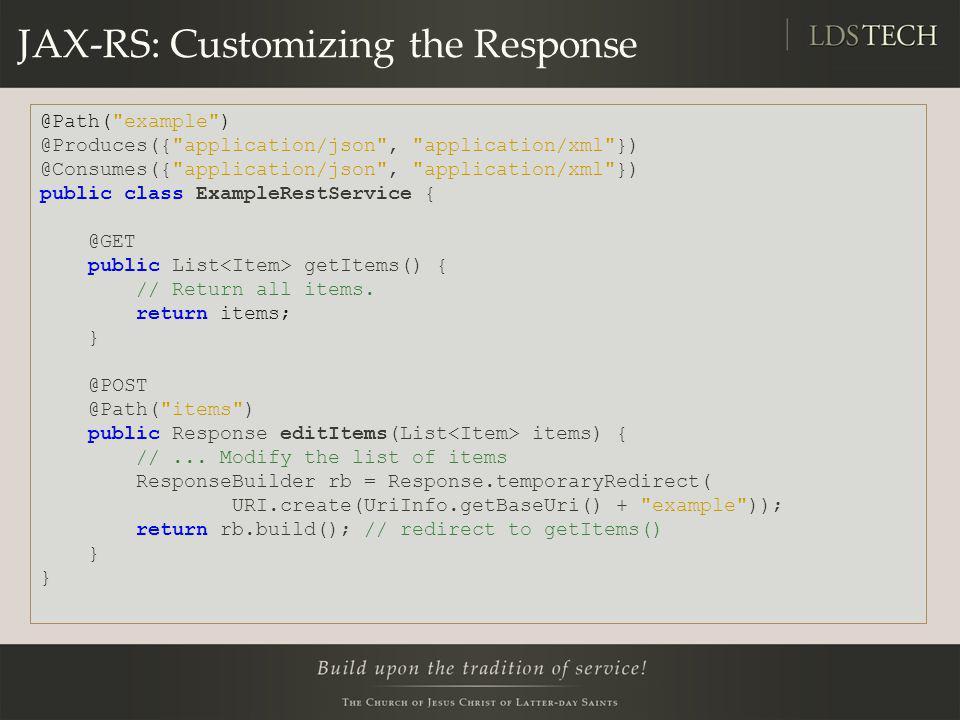 JAX-RS: Customizing the Response