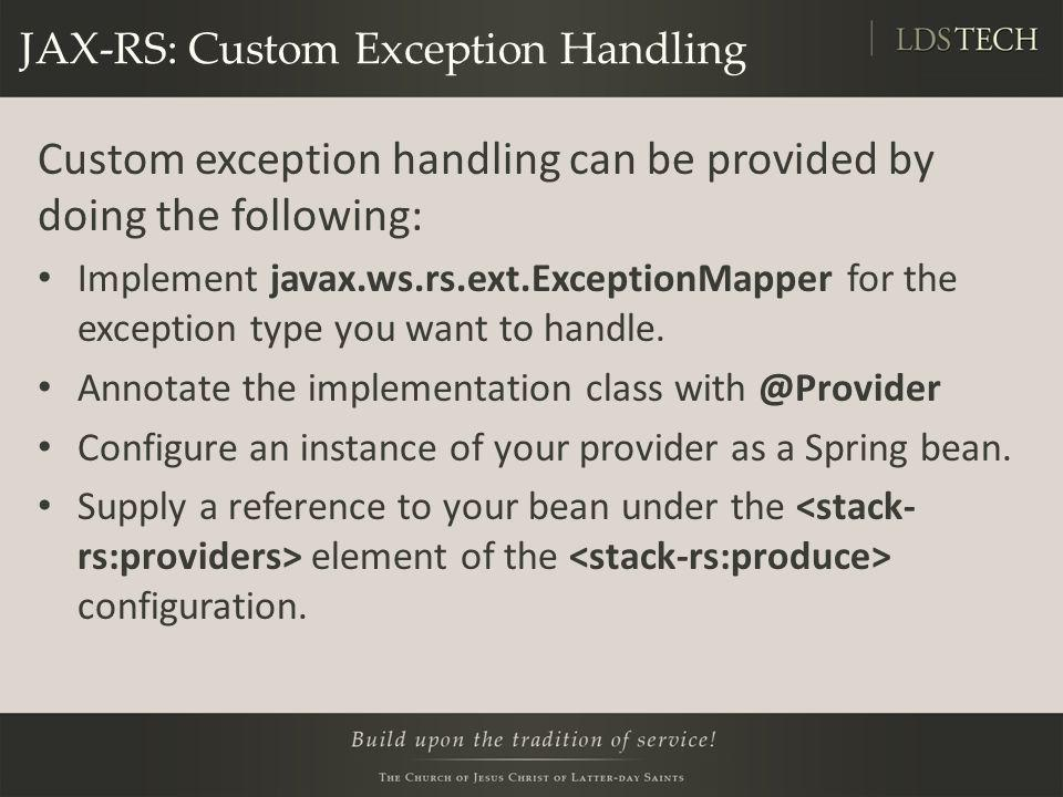 JAX-RS: Custom Exception Handling