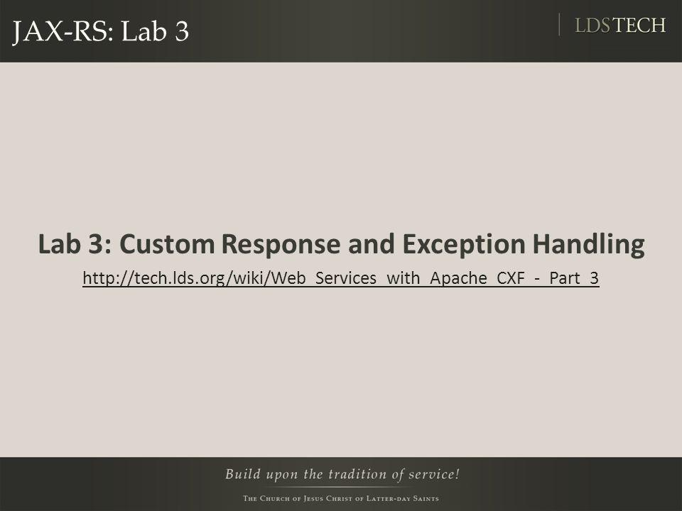 Lab 3: Custom Response and Exception Handling