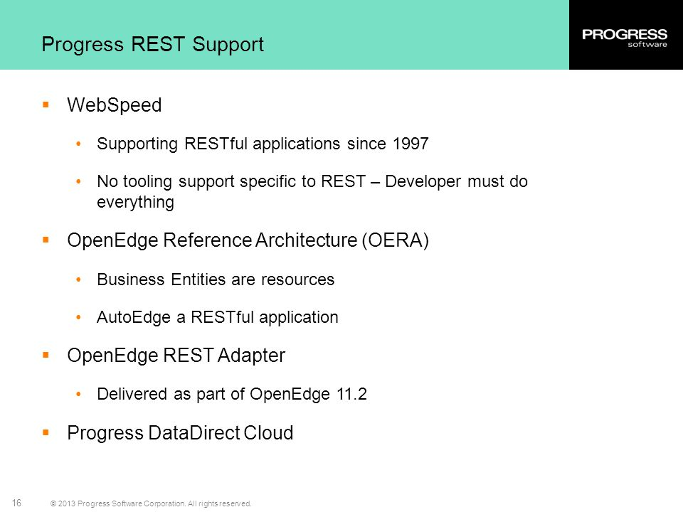 Progress REST Support WebSpeed OpenEdge Reference Architecture (OERA)