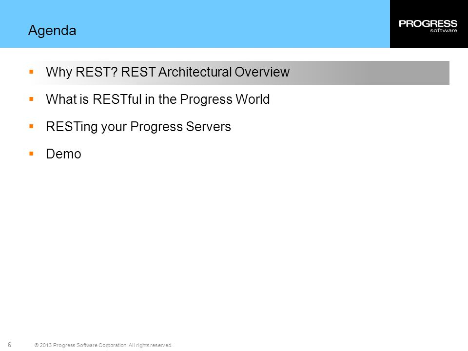 Agenda Why REST REST Architectural Overview