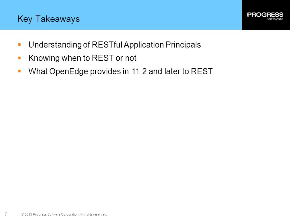Key Takeaways Understanding of RESTful Application Principals
