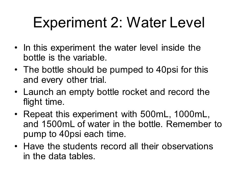 Experiment 2: Water Level