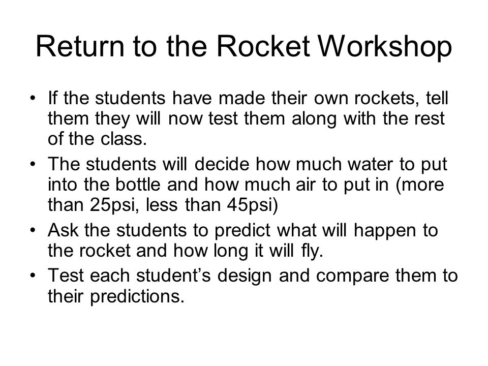 Return to the Rocket Workshop