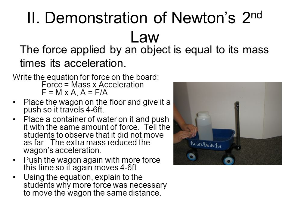 II. Demonstration of Newton's 2nd Law