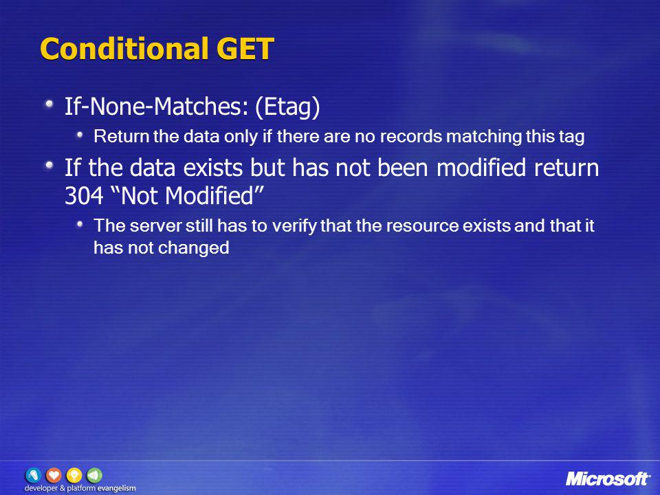 Conditional GET If-None-Matches: (Etag)
