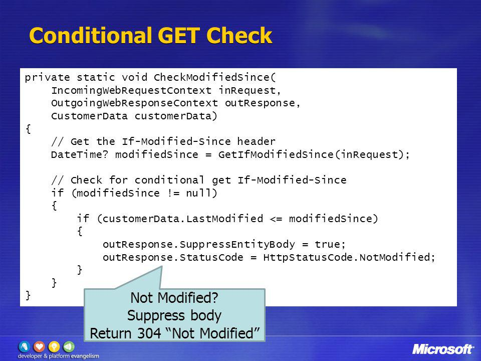 Conditional GET Check Not Modified Suppress body