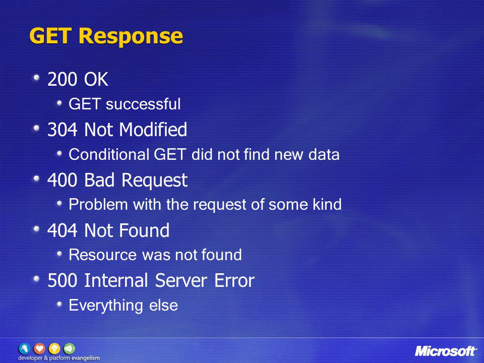 GET Response 200 OK 304 Not Modified 400 Bad Request 404 Not Found
