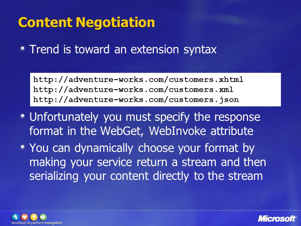 Content Negotiation Trend is toward an extension syntax