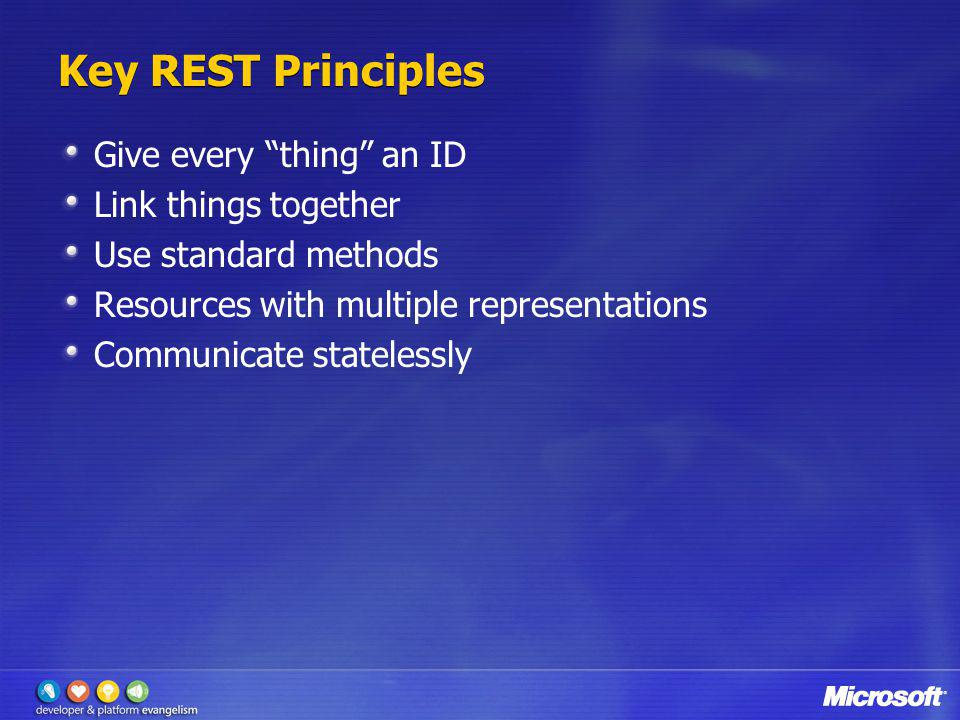 Key REST Principles Give every thing an ID Link things together