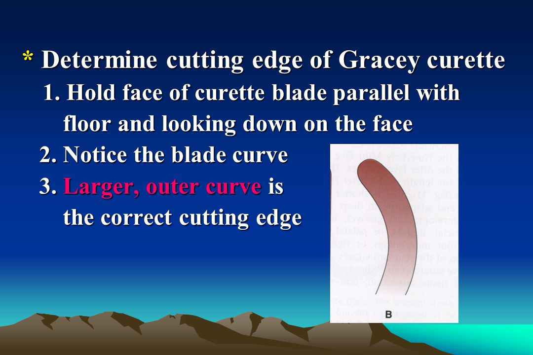 * Determine cutting edge of Gracey curette