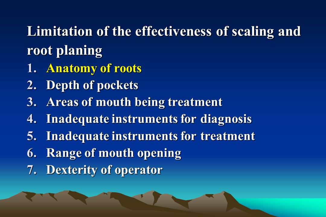 Limitation of the effectiveness of scaling and root planing