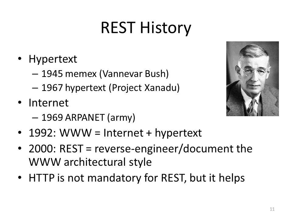 REST History Hypertext Internet 1992: WWW = Internet + hypertext