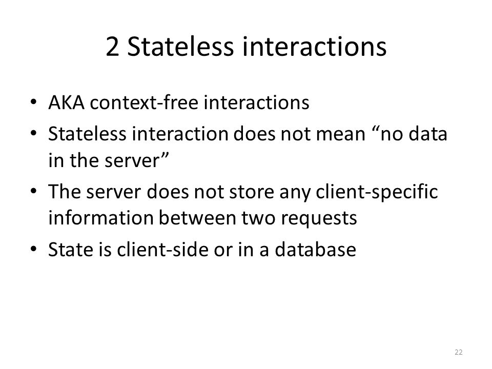 2 Stateless interactions