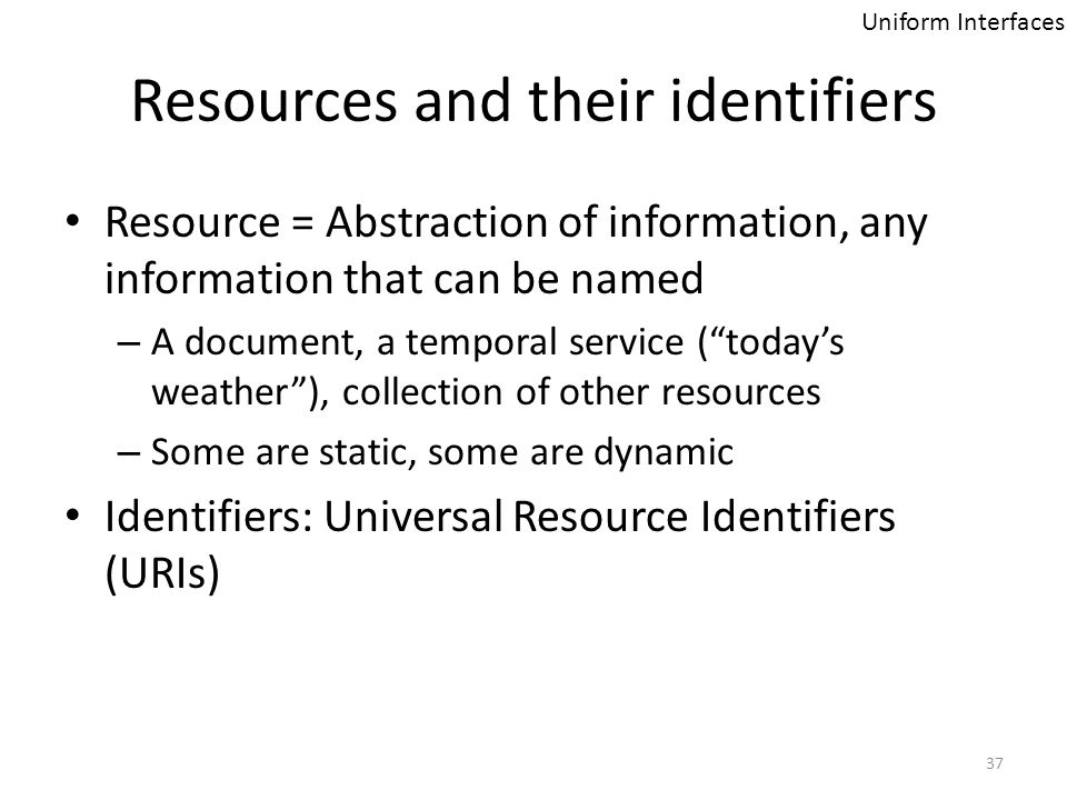 Resources and their identifiers