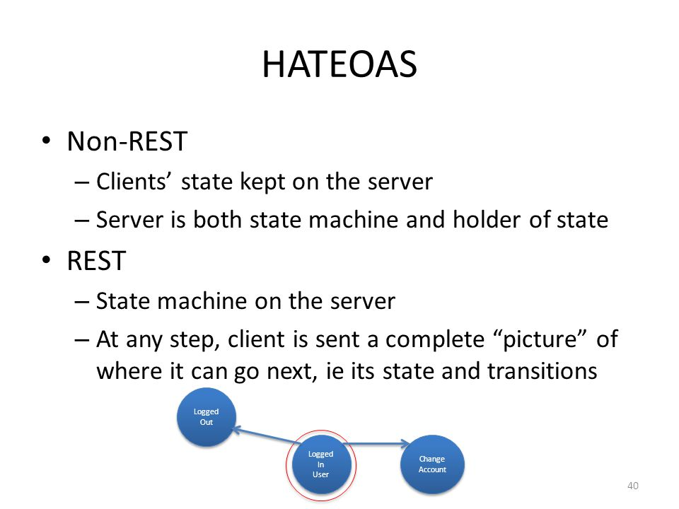HATEOAS Non-REST REST Clients' state kept on the server