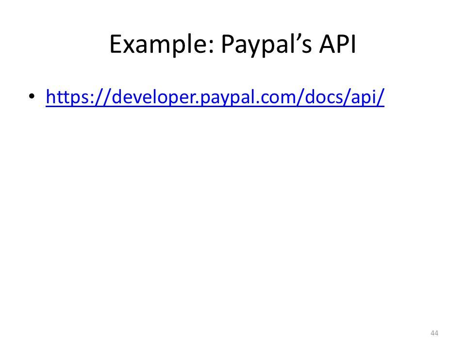 Example: Paypal's API https://developer.paypal.com/docs/api/