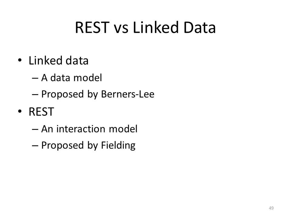 REST vs Linked Data Linked data REST A data model