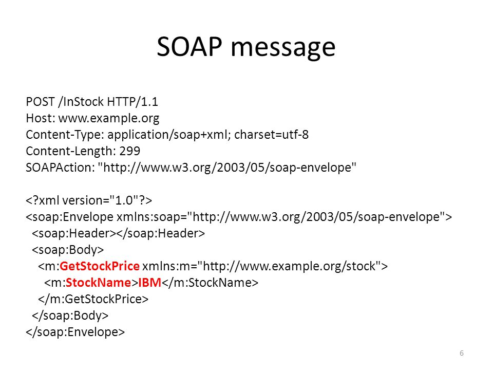 SOAP message POST /InStock HTTP/1.1 Host: www.example.org