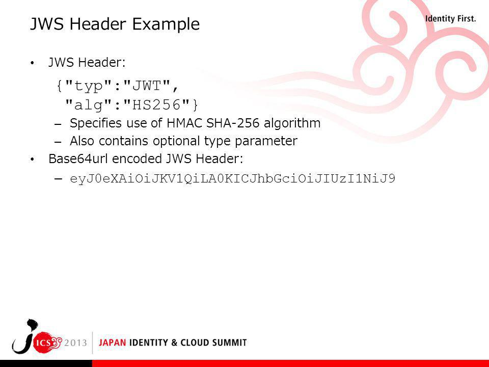JWS Header Example { typ : JWT , alg : HS256 }
