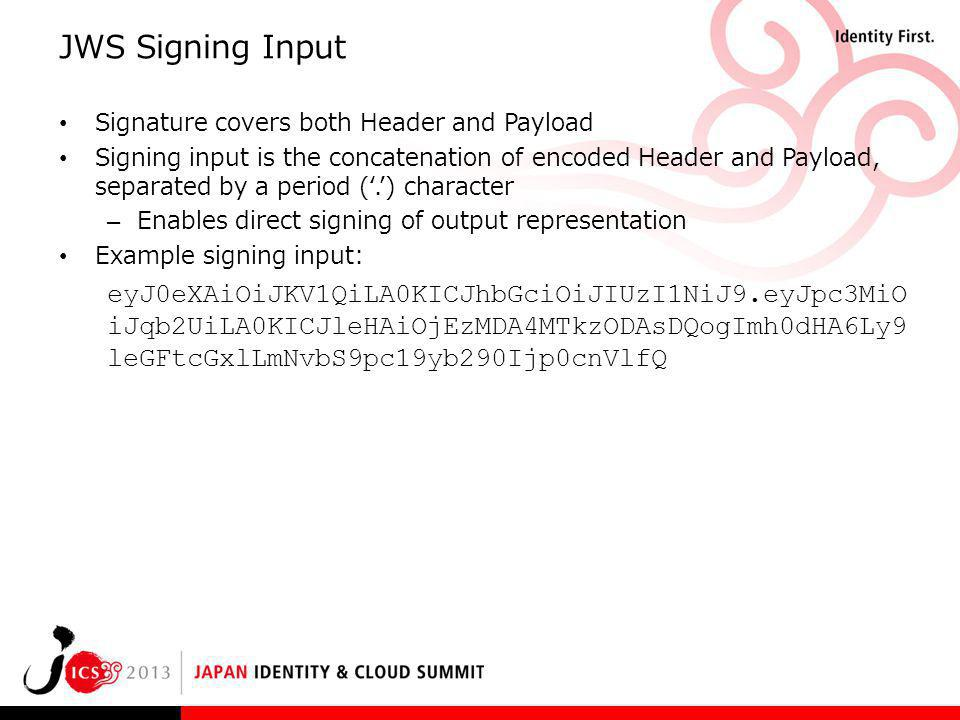 JWS Signing Input Signature covers both Header and Payload.