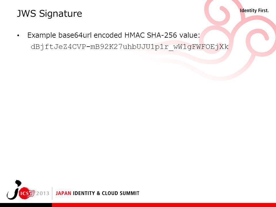 JWS Signature dBjftJeZ4CVP‑mB92K27uhbUJU1p1r_wW1gFWFOEjXk