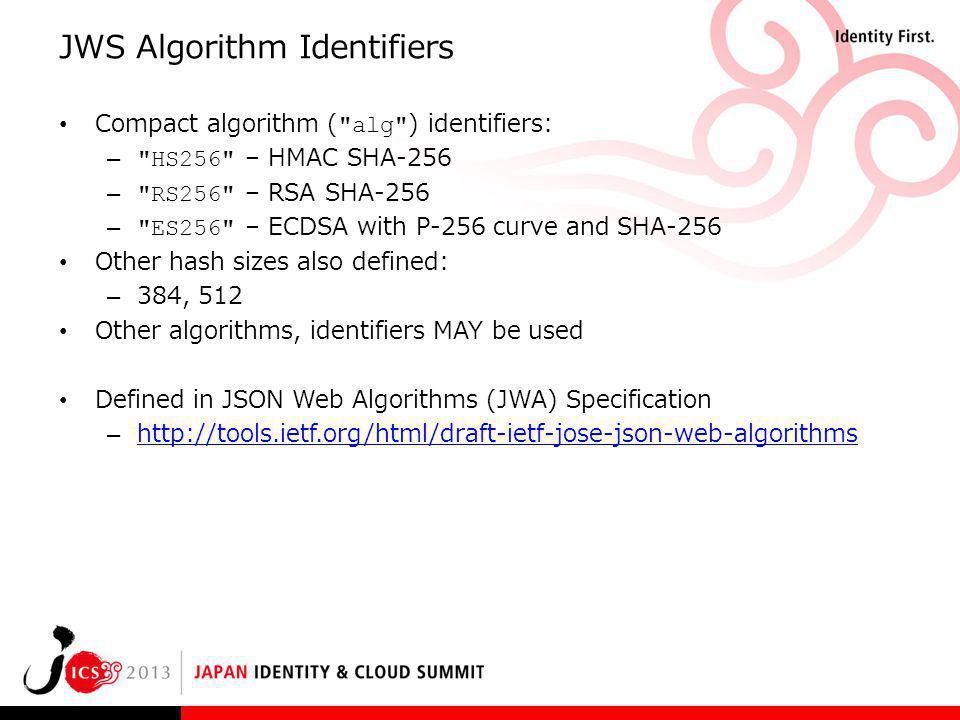 JWS Algorithm Identifiers